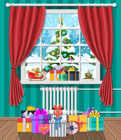 Christmas landscape with forest in window. Interior of room with gifts. Happy new year decoration. Merry christmas holiday. New year and xmas celebration. Vector illustration flat style Illustration