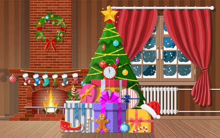 Christmas interior of room with tree, window, gifts and decorated fireplace. Happy new year decoration. Merry christmas holiday. New year and xmas celebration. Vector illustration flat style Illustration