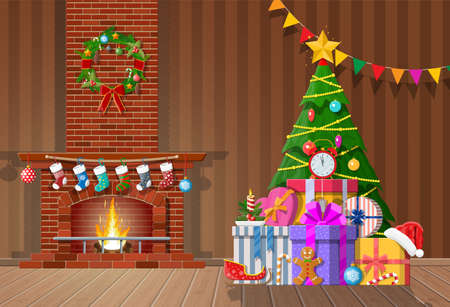 Christmas interior of room with tree, gifts and decorated fireplace. Happy new year decoration. Merry christmas holiday. New year and xmas celebration. Vector illustration flat style