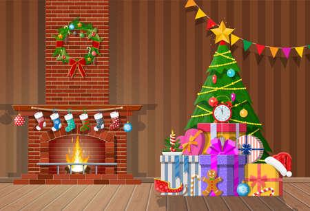 Intérieur de Noël de la chambre avec arbre, cadeaux et cheminée décorée. Décoration de bonne année. Joyeuses fêtes de Noël. Célébration du nouvel an et de Noël. Style plat d'illustration vectorielle