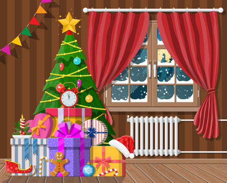Interior of room with christmas tree and gifts Illustration