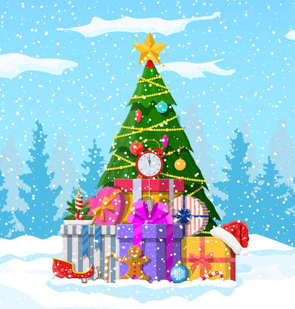 Christmas background. Christmas tree with garlands and balls, gift boxes. Winter landscape fir trees forest snowing. Happy new year celebration. New year xmas holiday. Vector illustration flat style