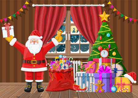 Santa in room with christmas tree and gifts.