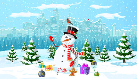 Winter christmas background. Snowman, gifts, pine tree and snow. Urban winter cityscape with fir trees forest park. Happy new year celebration. New year xmas holiday. Vector illustration flat style Иллюстрация