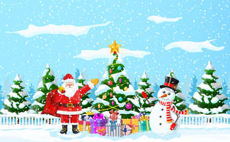 Christmas background. Christmas tree garlands balls gift boxes santa and snowman. Winter landscape fir trees forest snowing. New year celebration happy xmas holiday. Vector illustration flat style Иллюстрация