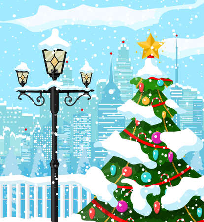 Christmas winter cityscape, snowflakes and trees. City park snow alley and buildings. Happy new year decoration. Merry christmas holiday. New year and xmas celebration. Vector illustration flat style