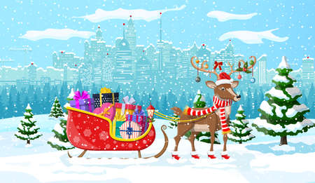 Santas reindeer sleigh with gifts. Christmas winter cityscape, snowflakes and trees. Happy new year decoration. Merry christmas holiday. New year and xmas celebration. Vector illustration flat style