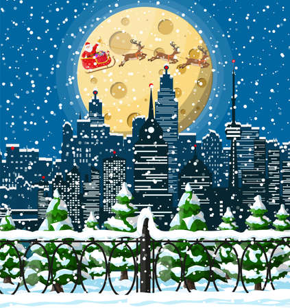 Santa claus rides reindeer sleigh. Christmas winter cityscape, snowflakes and trees. Happy new year decoration. Merry christmas holiday. New year and xmas celebration. Vector illustration flat style