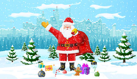 Winter christmas background. Santa claus, gifts pine tree and snow. Urban winter cityscape with fir trees forest park. Happy new year celebration. New year xmas holiday. Vector illustration flat style