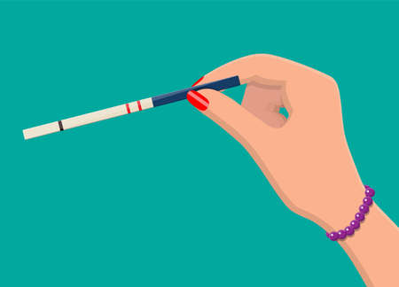 Pregnancy test strip in hand of woman. Pregnant positive result. Vector illustration in flat style