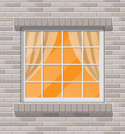 Building facade. Classic window in brick wall.