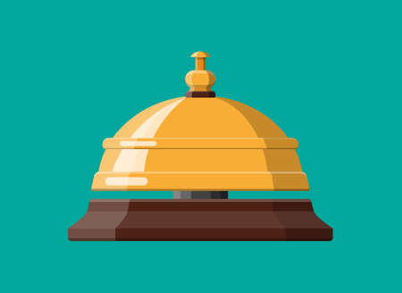 Golden service bell. Help, alarm and support concept. Hotel, hospital, reception, lobby and concierge. Vector illustration in flat style Illustration