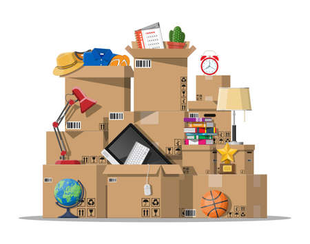 Moving to new house. Family relocated to new home. Paper cardboard boxes with various household thing. Package for transportation. Computer, lamp, clothes, books. Vector illustration in flat style Vettoriali