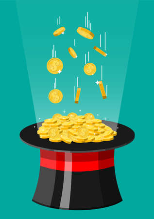 Magic hat and gold coins. Illusionist cap full of money. Golden coin with dollar sign. Growth, income, savings, investment. Symbol of wealth. Business success. Flat style vector illustration.