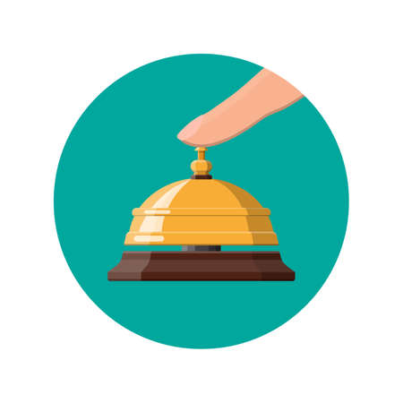 Golden service bell and hand. Help, alarm and support concept. Hotel, hospital, reception, lobby and concierge. Vector illustration in flat style Illustration