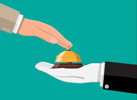 Golden service bell in hand. Help, alarm and support concept. Hotel, hospital, reception, lobby and concierge. Vector illustration in flat style