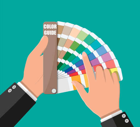 Color swatch. Color palette guide in hand
