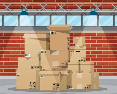 Warehouse interior with goods and container