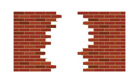 Vintage brick wall with hole. Broken construction and building element. Vector illustration in flat style
