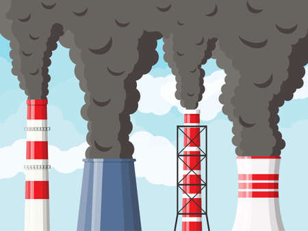 Smoking factory pipes against clear sky with clouds. Plant pipe with dark smoke. Carbon dioxide emissions. Environment contamination. Pollution of environment co2. Vector illustration in flat style