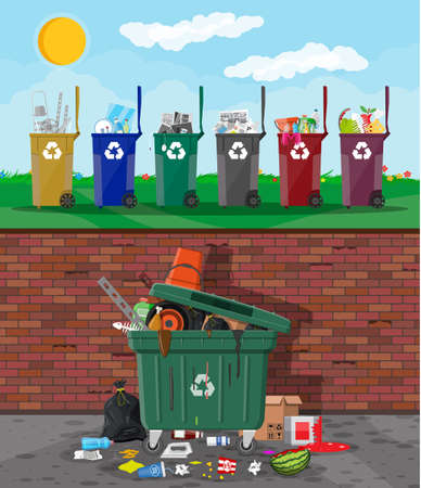 Ecological lifestyle concept. Can container, bag and bucket for garbage. Recycling and utilization equipment, trash segregation. Plastic garbage bin full of trash. Vector illustration flat style