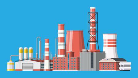 Fabrik-Ikonengebäude. Industrielle Fabrik, Kraftwerk. Rohre, Gebäude, Lager, Lagertank. Vektorillustration im flachen Stil Vektorgrafik