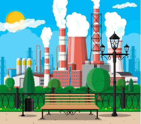 Fabrikgebäude und Stadtpark. Industrielle Fabrik, Kraftwerk. Rohre, Gebäude, Lager, Lagertank. Stadtbild urbane Skyline mit Wolken, Bäumen und Sonne. Vektorillustration im flachen Stil