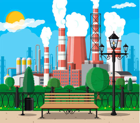 Factory building and city park. Industrial factory, power plant. Pipes, buildings, warehouse, storage tank. Cityscape urban skyline with clouds, trees and sun. Vector illustration in flat style