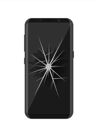 Smartphone with cracked screen. Damaged display. Broken glass touchscreen phone. Vector illustration in flat style Çizim