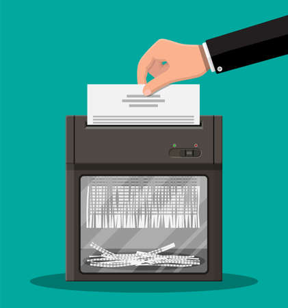 Shredder machine and hand with document paper. Office device for destruction of documents. Vector illustration in flat style