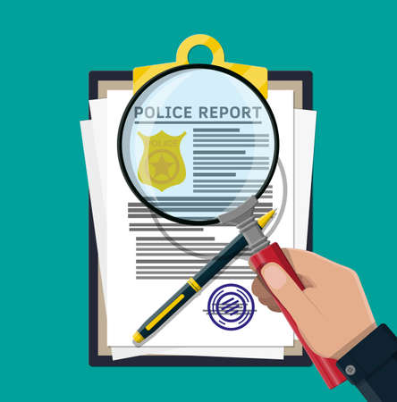 Clipboard with police report and pen. Report sheet with gold police badge. Legal fine document and stack of papers with stamp. Vector illustration in flat style