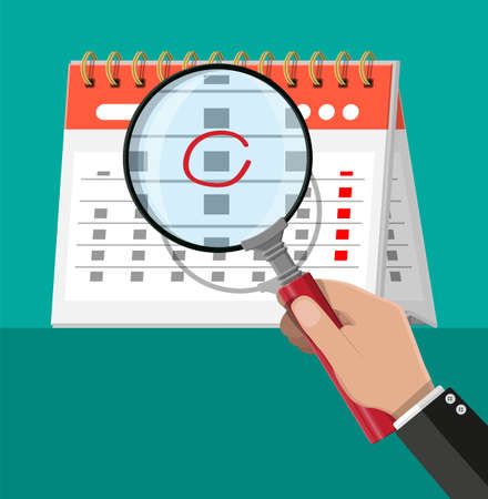Paper spiral wall calendar and magnifying glass. Calendar flat icon. Schedule, appointment, organizer, timesheet, important date. Vector illustration in flat style Illustration