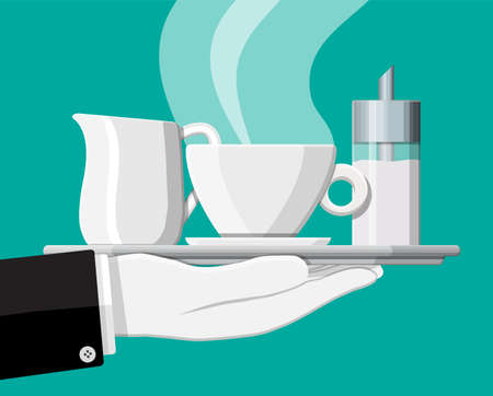 Coffee on saucer, milk jug, sugar dispenser on plate in hand of waiter. Vector illustration in flat style