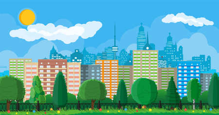 City park concept. Urban forest panorama with fence. Cityscape with buildings and trees. Sky with clouds and sun. Leisure time in summer city park. Vector illustration in flat style