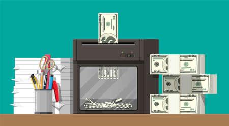 Dollar banknote in shredder machine Stock Vector - 115978242