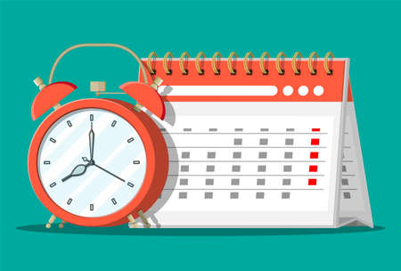 Paper spiral wall calendar and clocks. Calendar and alarm clocks. Schedule, appointment, organizer, timesheet, time management, important date. Vector illustration in flat style Ilustração