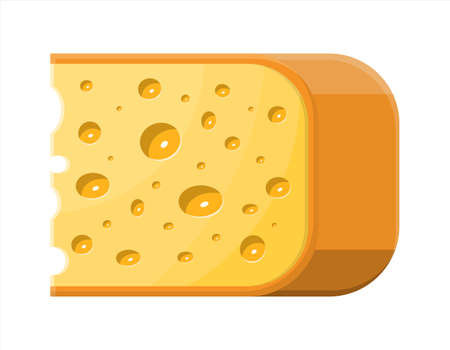 Piece of cheese isolated on white. Stock Vector - 115978245