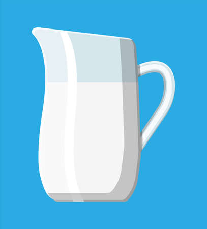 Ceramic jug with milk isolated on blue. Milk dairy drink. Organic healthy product. Vector illustration in flat style