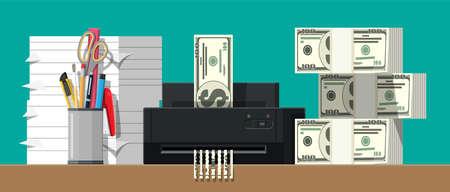 Dollar banknote in shredder machine