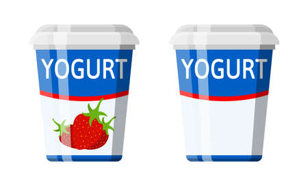 Plastic container with yogurt. Strawberry yogurt dessert. Food plastic glass. Milk product. Organic healthy product. Vector illustration in flat style Illustration