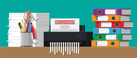 Paper document in shredder machine. Stock Vector - 116099512