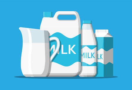Milk set isolated on blue. Milk dairy drink. Glass bottle, paper packet, ceramic jug and plastic container. Organic healthy product. Vector illustration in flat style