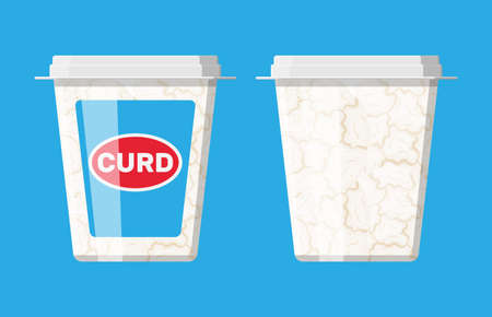 Cottage cheese in plastic box isolated on blue. Illustration