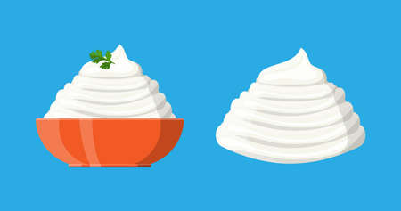 Sour cream sauce or mayonnaise with green parsley in bowl. Dairy milk product. Organic healthy product. Vector illustration in flat style