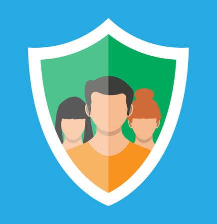 Shield icon with user silhouette symbol. Stock Vector - 118858167