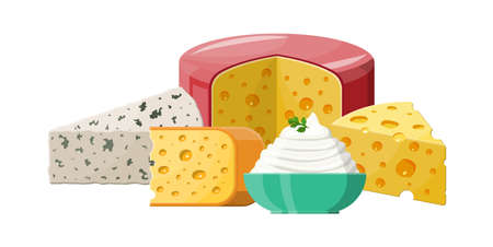 Set of milk cheese products. Illustration