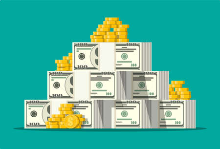Stack of dollar banknotes and golden coins. Concept of savings, donation, paying. Symbol of wealth. Vector illustration in flat style Illustration