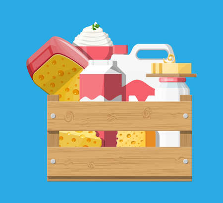 Milk products set in wooden box with cheese, cottage and butter. Dairy food. Tradicional fresh farm products. Vector illustration in flat style Ilustração