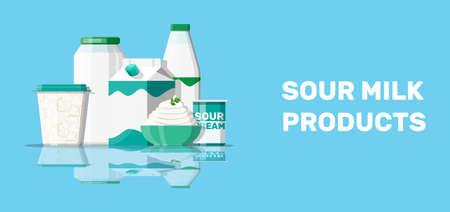Sour milk products set Illustration
