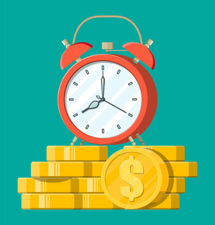 Clock, dollar golden coins. Annual revenue, financial investment, savings, bank deposit, future income, money benefit. Time is money concept. Vector illustration in flat style